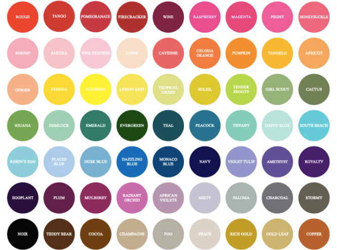 I found this color chart on a wedding site a while ago.
