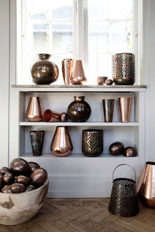 copper decor on white